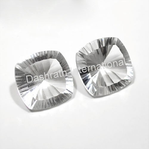 18mm Natural Crystal Quartz Concave Cut Cushion 25 Pieces Lot  Top Quality Loose Gemstone