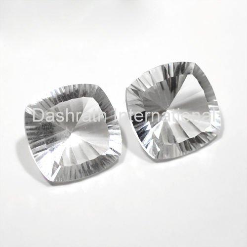 20mm Natural Crystal Quartz Concave Cut Cushion 1 Piece  Top Quality Loose Gemstone