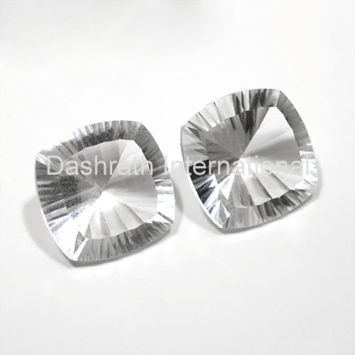 20mm Natural Crystal Quartz Concave Cut Cushion 25 Pieces Lot  Top Quality Loose Gemstone