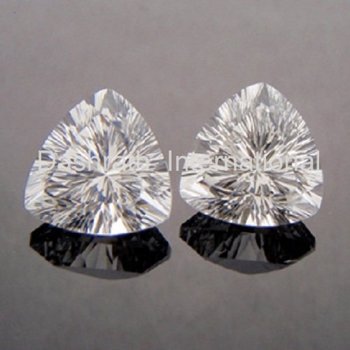9mm Natural Crystal Quartz Concave Cut Trillion 10 Pieces Lot   Top Quality Loose Gemstone