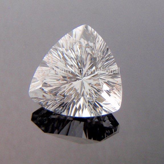 10mm Natural Crystal Quartz Concave Cut Trillion 50 Pieces Lot   Top Quality Loose Gemstone