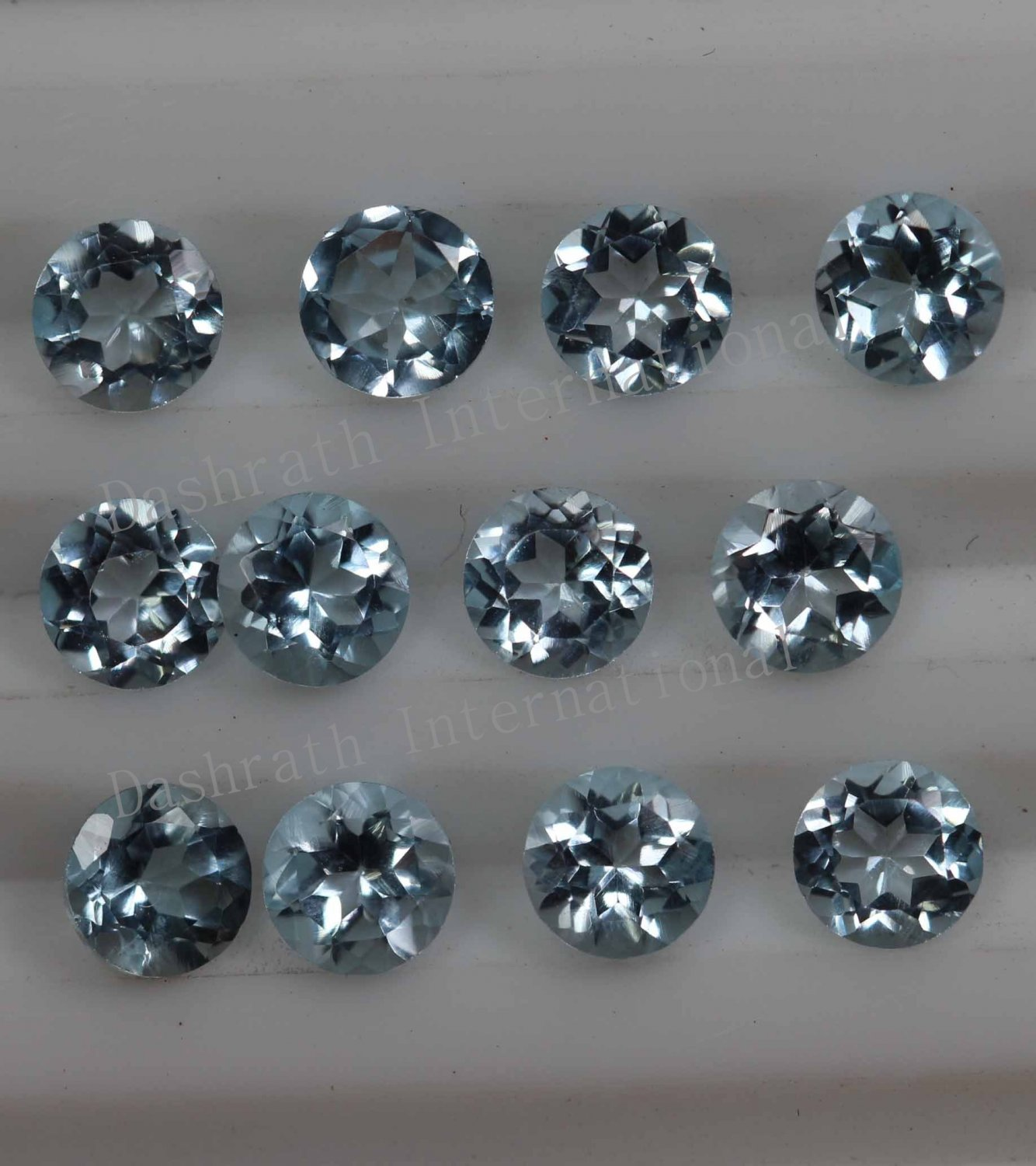 4mmNatural Sky Blue Topaz Faceted Cut Round 2 Piece (1 Pair ) Blue Color  Top Quality Loose Gemstone