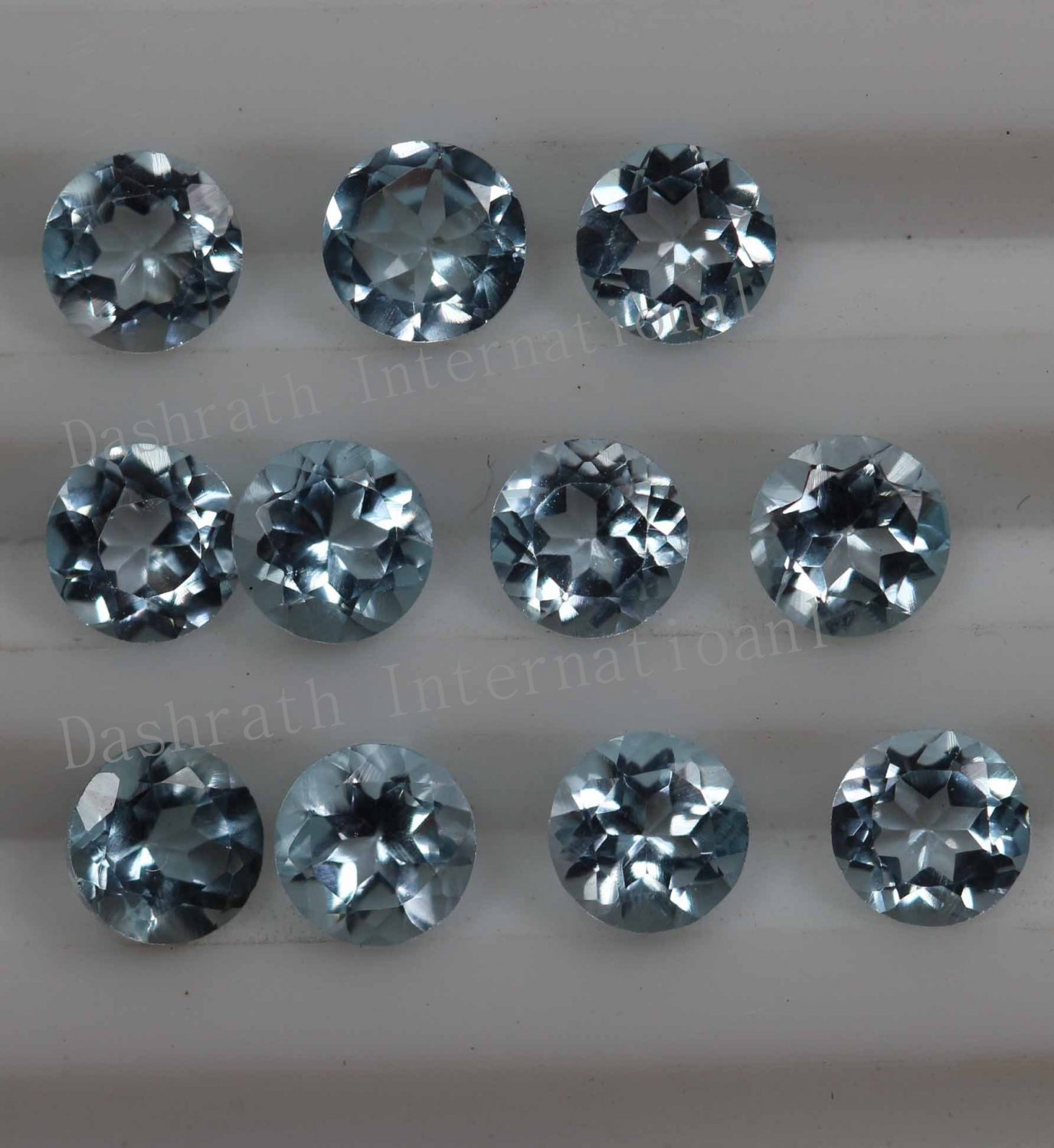 7mmNatural Sky Blue Topaz Faceted Cut Round 2 Piece (1 Pair ) Blue Color  Top Quality Loose Gemstone