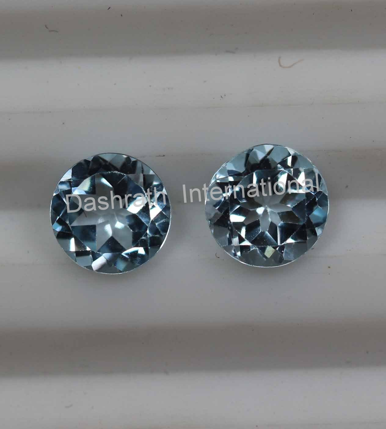 8mmNatural Sky Blue Topaz Faceted Cut Round 2 Piece (1 Pair ) Blue Color  Top Quality Loose Gemstone