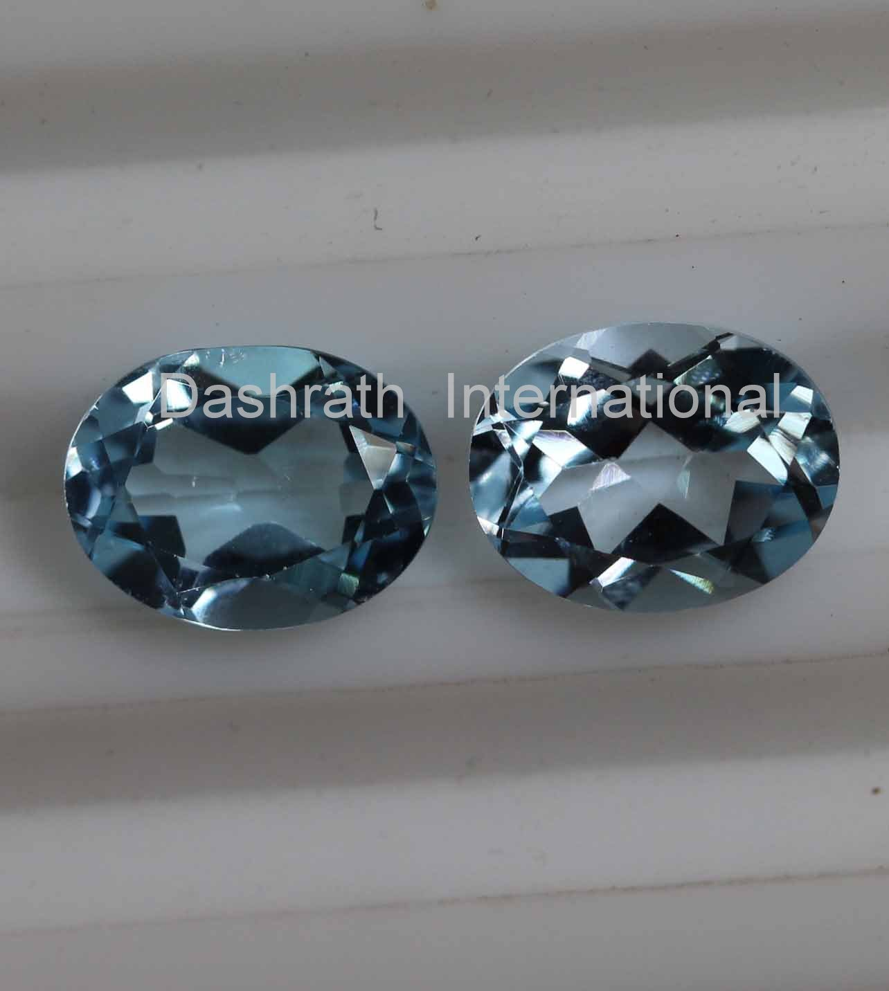 7x9mm Natural Sky Blue Topaz Faceted Cut Oval  2 Piece (1 Pair )  Top Quality Loose Gemstone