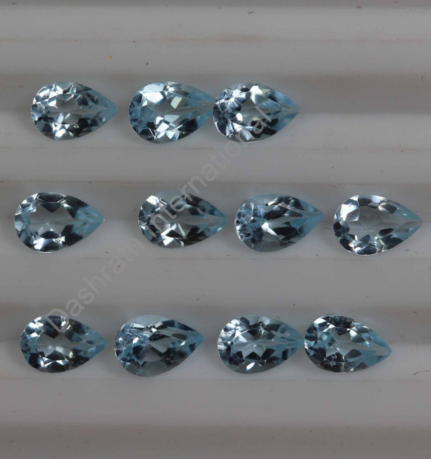 4x6mm  Natural Sky Blue Topaz Faceted Cut Pear 10 Pieces  Lot Top Quality Loose Gemstone