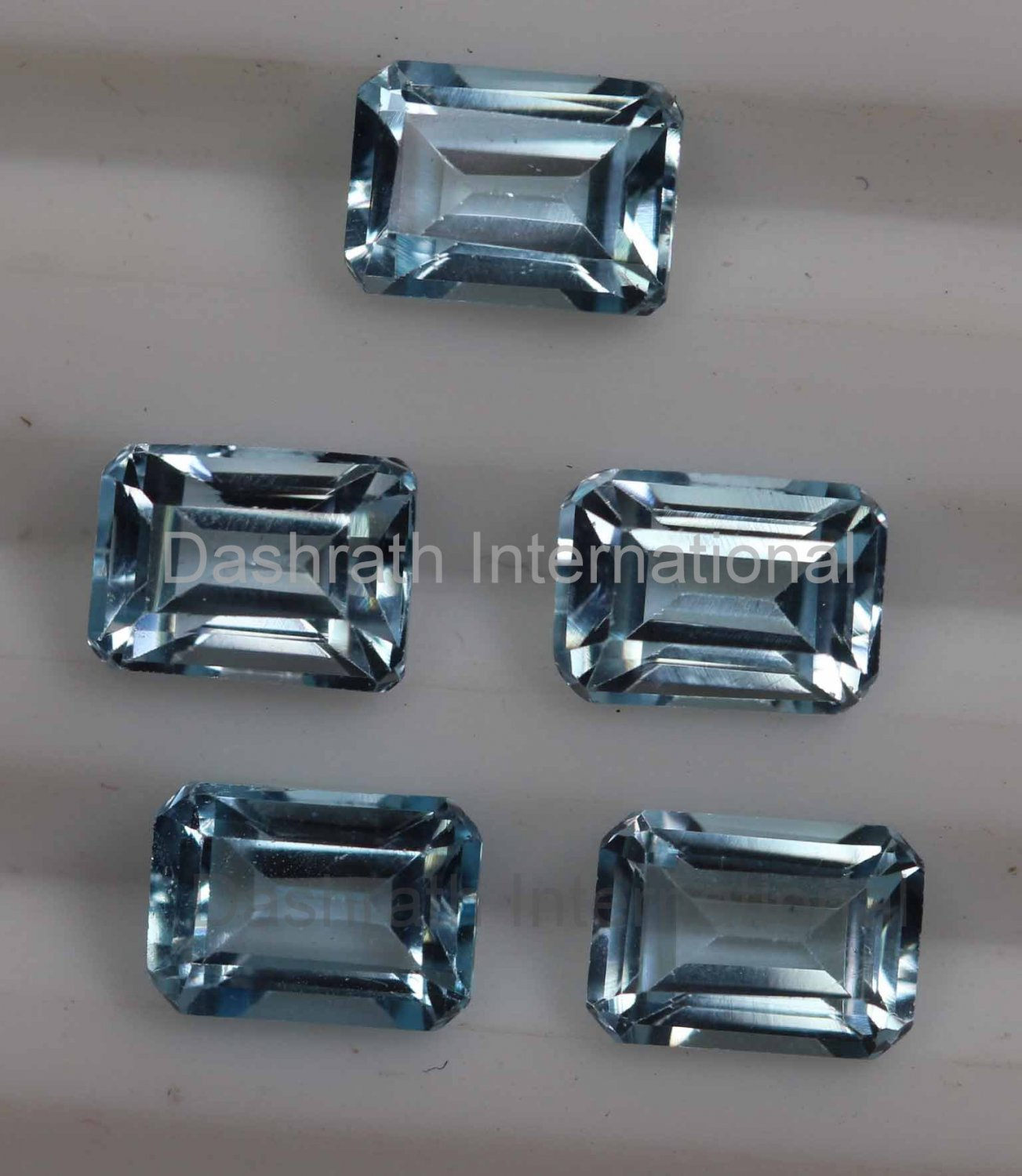 6x4mm Natural Sky Blue Topaz Faceted Cut Octagon 5 Pieces Lot   Top Quality Loose Gemstone