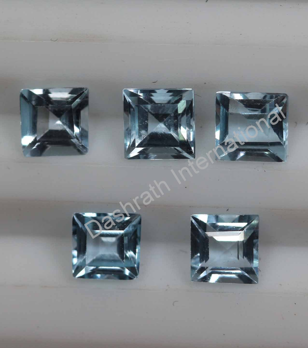 7mm  Natural Sky Blue Topaz Faceted Cut Square 5 Pieces Lot  Top Quality Loose Gemstone