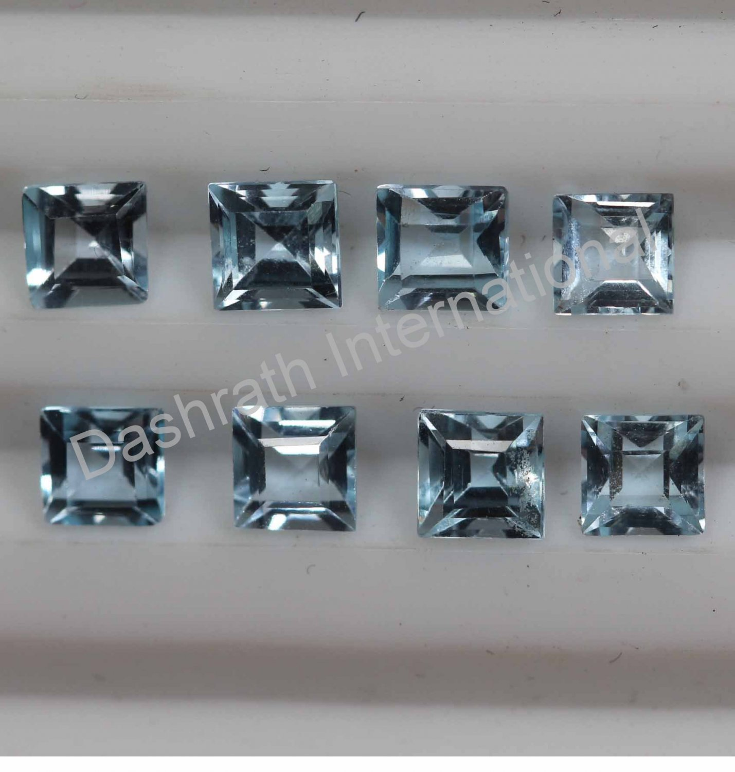 7mm  Natural Sky Blue Topaz Faceted Cut Square 10 Pieces Lot Top Quality Loose Gemstone