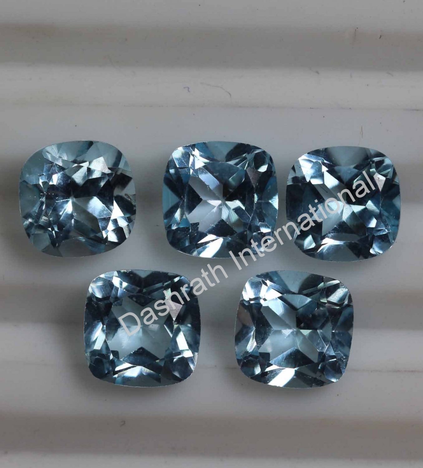 4mm Natural Sky Blue Topaz Faceted Cut Cushion 5 Pieces Lot  Top Quality Loose Gemstone