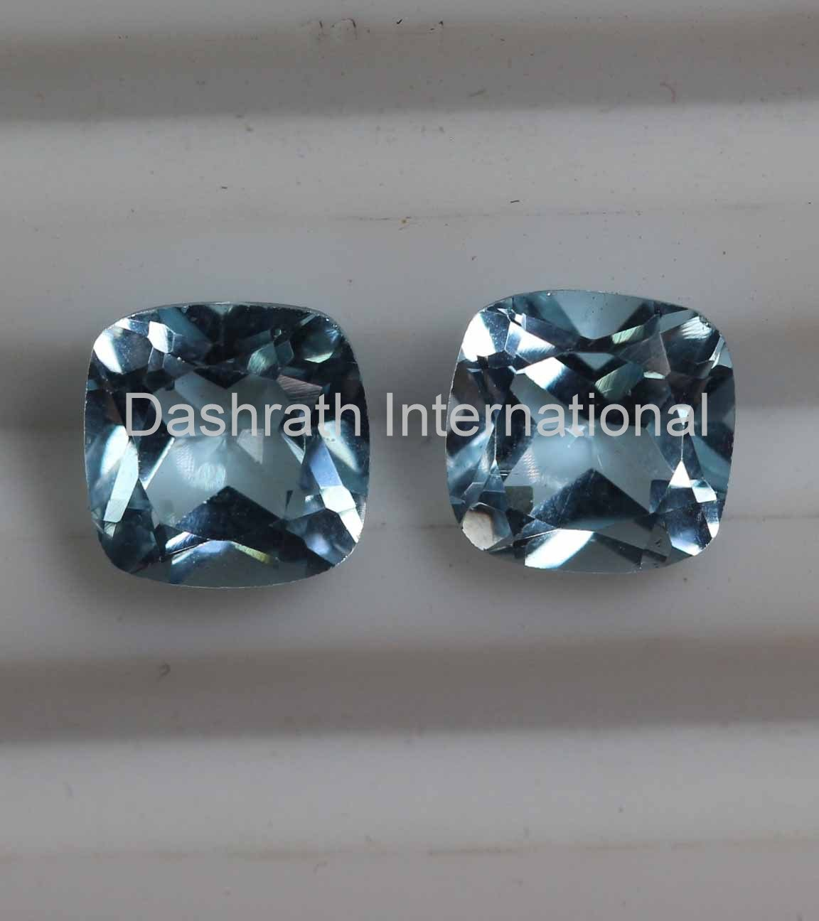 7mm Natural Sky Blue Topaz Faceted Cut Cushion 2 Piece (1 Pair ) Top Quality Loose Gemstone