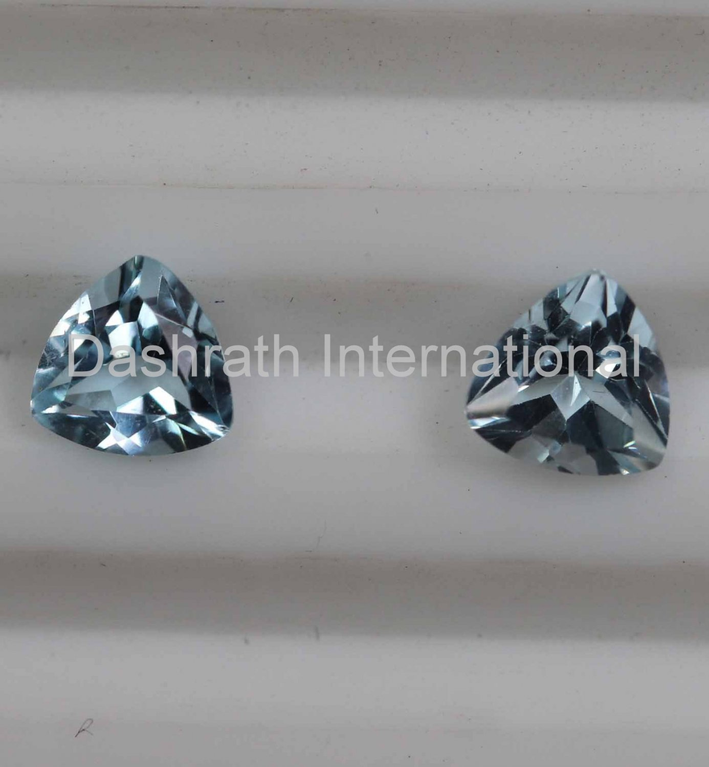 7mm Natural Sky Blue Topaz Faceted Cut Trillion 2 Piece (1 Pair ) Top Quality Loose Gemstone