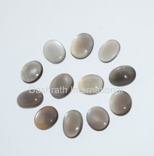 9x11mm Natural Gray Moonstone Cabochon Oval 5 Pieces Lot  Gray Color Top Quality Loose Gemstone