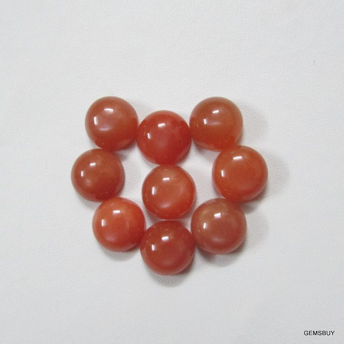 6mm Natural Peach Moonstone Cabochon Round 2 Piece (1 Pair )  Peach Color Top Quality Loose Gemstone
