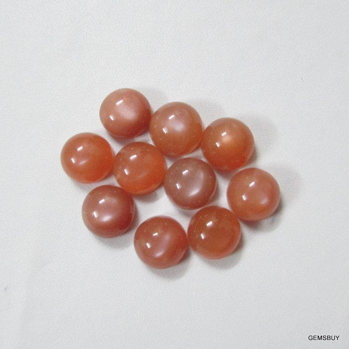 7mm Natural Peach Moonstone Cabochon Round 5 Pieces Lot   Peach Color Top Quality Loose Gemstone