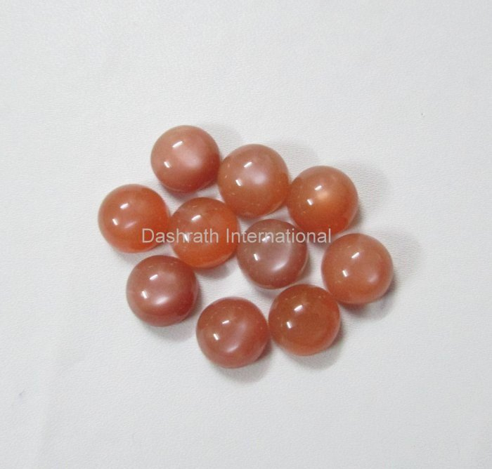 9mm Natural Peach Moonstone Cabochon Round 5 Pieces Lot   Peach Color Top Quality Loose Gemstone