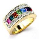Swarovski Crystal Multi Colored Rainbow Ring