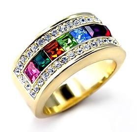 Swarovski Crystal Multi Colored Rainbow Ring