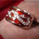 Royal Red Enamel And Swarovski Crystal Oriental Ring 20802