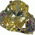 Oval Cut Huge 9 Carat CZ Topaz Ring GORGEOUS  LV 115