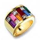 Large Rainbow Crystal Ring GLO19