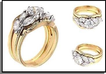 Artistic Three Ring Wedding Set 34616