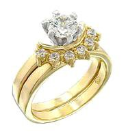 Two Ring Wedding Set Solitaire With Accents 44704