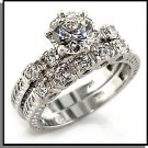 Rhodium Silver Wedding Set Grooved Band 6X092