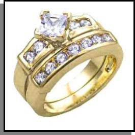"""Two Ring """"Compass Cut"""" Wedding Set 61211"""