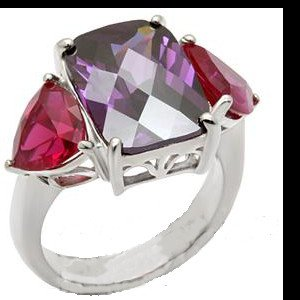 Amethyst Ruby Russian CZ Fashion Ring 49702