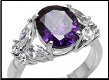 Multi-Beveled Oval Cut Russian Amethyst CZ Ring TK086