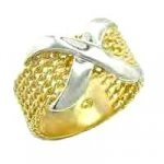 Designer Inspired Gold & Rhodium Plated Mesh X Ring 54408