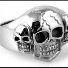 Three Skull Steel Ring SR-683