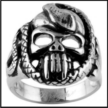 Skull Fangs Snake Steel Ring SR-388
