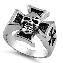 Skull Iron Cross Steel Ring SR-905