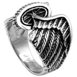 Freedom Wheel Wings Biker Steel Ring SR-529