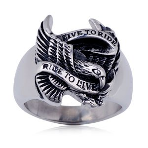 Live To Ride Eagle Ring Stainless Steel Ring MER-800