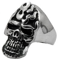 Flameing Skull  Steel Ring 1317