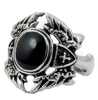 Ornate Winged Biker Stainless Steel Ring 1311