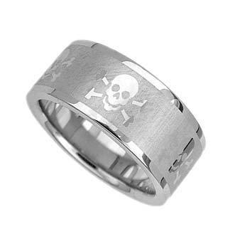 Stainless Steel Skull Biker Pirate Wedding Band 13946