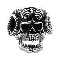Bighorn Ram Biker Skull Stainless Steel Ring R030