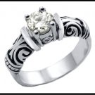 Designer Inspired Solitaire Stainless Steel Russian CZ Ring TK-082