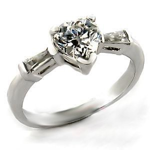 Heart CZ Sterling Silver Ring  9A911