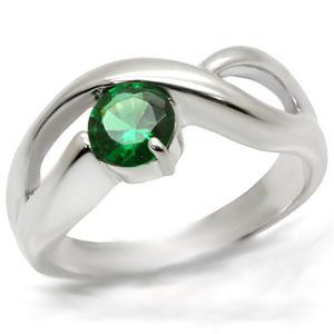 Sterling Silver Spinel Emerald Ring 40027