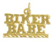 """BIKER BABE"" Pendant In Gold Or Rhodium w-278"