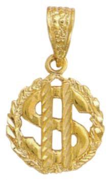 Dollar Sign Medallian Pendant Diamond Cut  MD-127