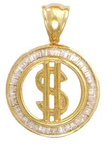 Dollar Sign Medallian CZ Pendant In Gold Or Rhodium czp-149