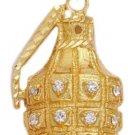 Hand Gernade CZ Pendant In Gold Or Rhodium CZP-129