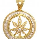 Herb Plant Pendant With CZs In Gold Or Rhodium CZP-129