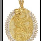 Dragon Medallion Pendant In Gold Or Rhodium CZP-145
